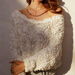 3D white roses blouse Very Romantic
